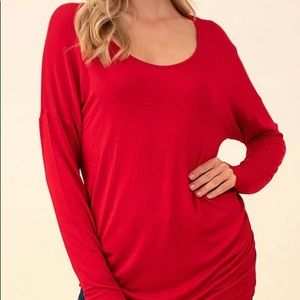 Hippie chic true red Ruched side long Sleeve Top